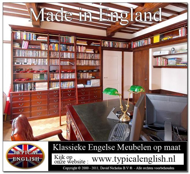 Typical English boekenkasten en engelse meubelen op maat